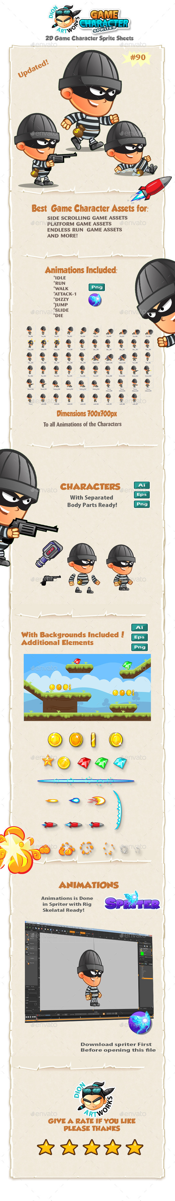 Robber 2D Game Character Sprites 90 - Sprites Game Assets