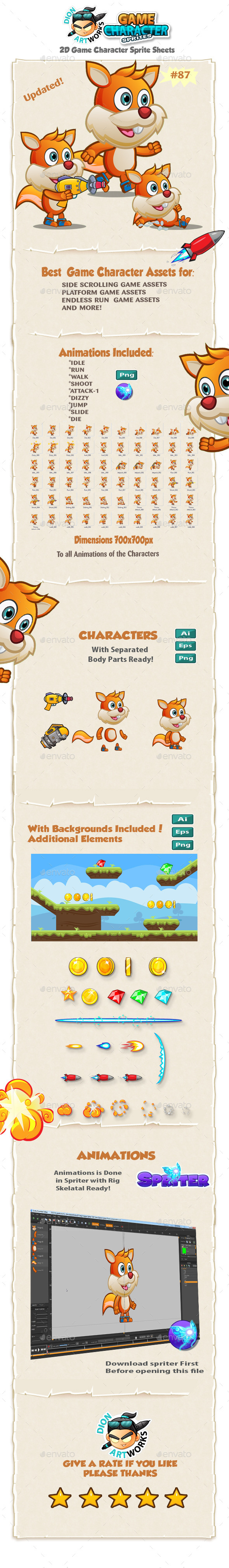 Squirrel 2D Game Character Sprites 87 - Sprites Game Assets