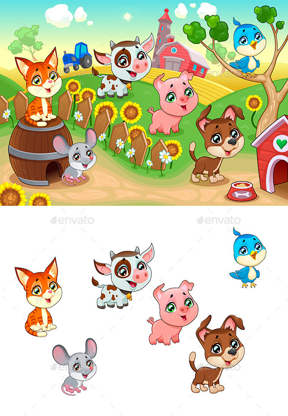 Cute Farm Animals in the Garden - Animals Characters
