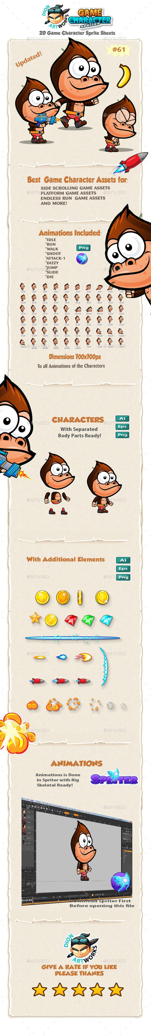 Gorilla 2D Game Character Sprites 61 - Sprites Game Assets
