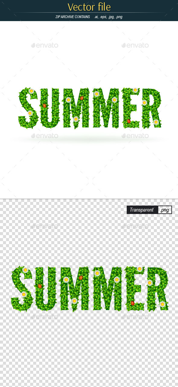 Summer Word with Green Leaves - Decorative Symbols Decorative