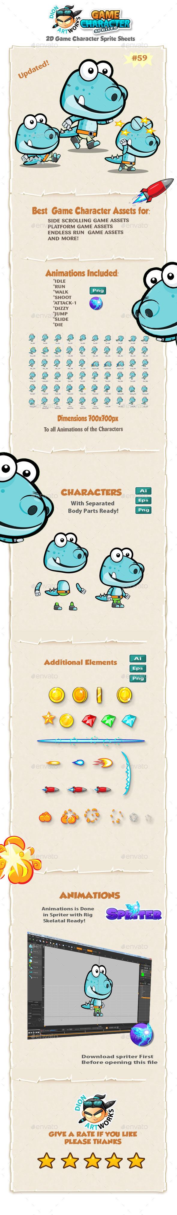 Dinosaur 2D Game Character Sprites 59 - Sprites Game Assets