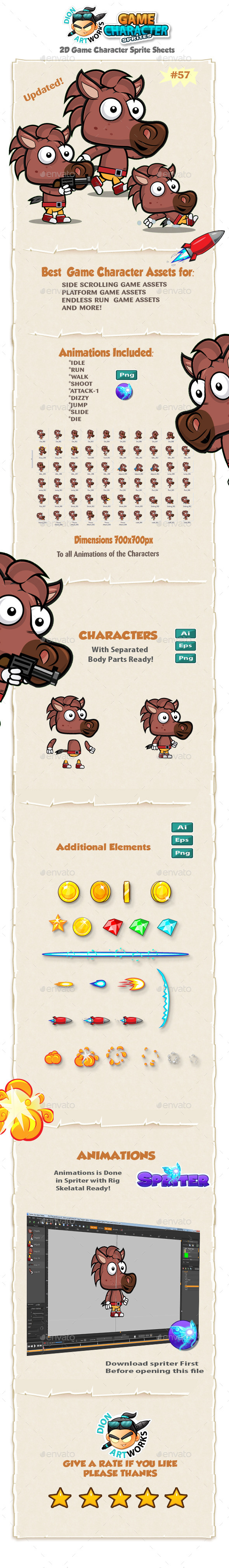 Horse 2D Game Character Sprites 57 - Sprites Game Assets