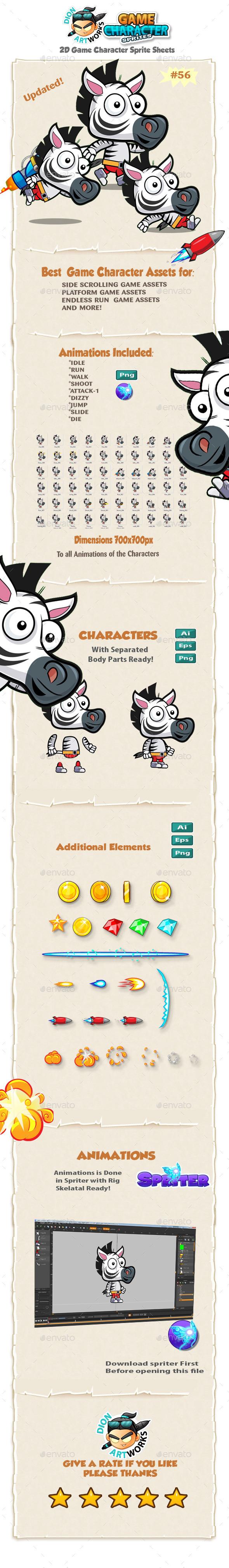 Zebra 2D Character Spritees  56 - Sprites Game Assets