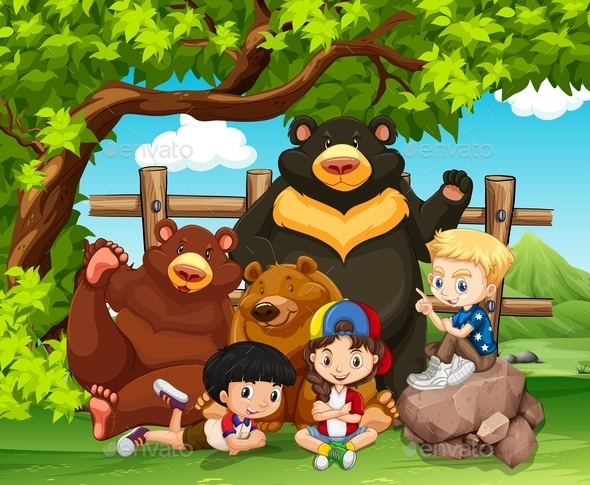 Children and Wild Bears Together - Animals Characters