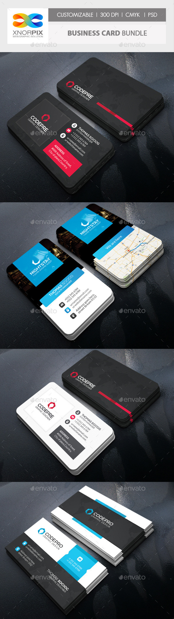 Business Card Bundle 3 in 1-Vol 62 - Corporate Business Cards