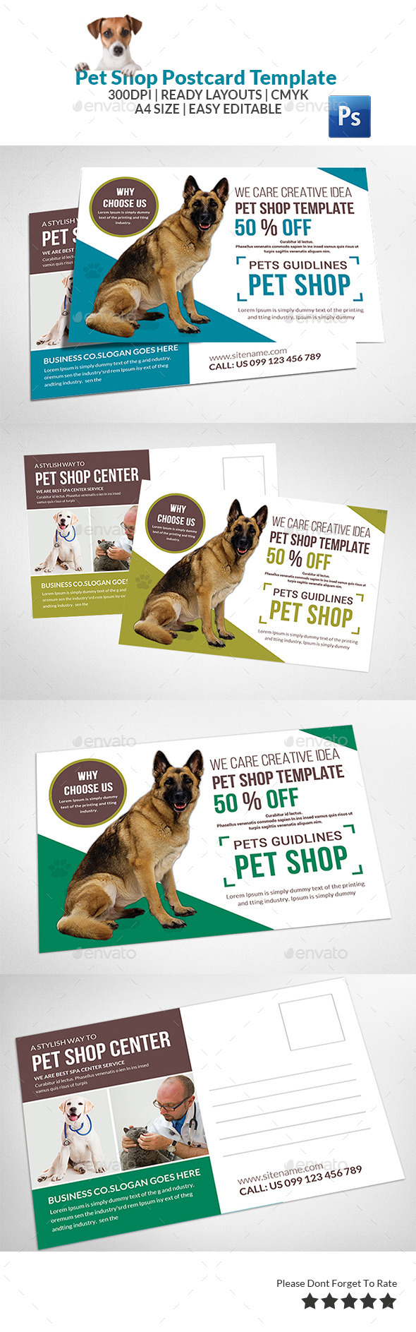 Pet Care Postcard Template - Cards & Invites Print Templates