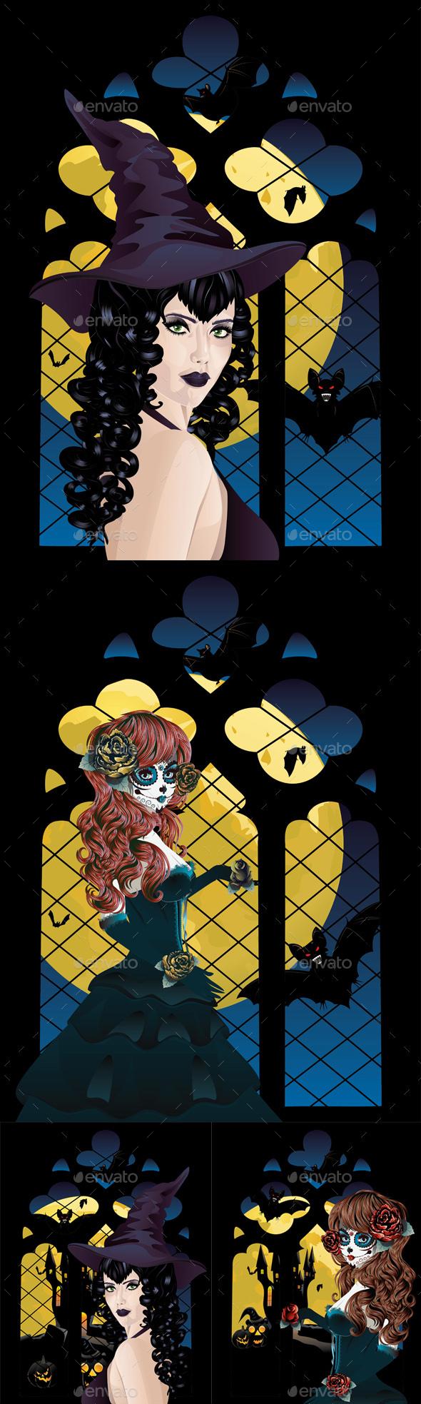 Witch near Gothic Window - Halloween Seasons/Holidays