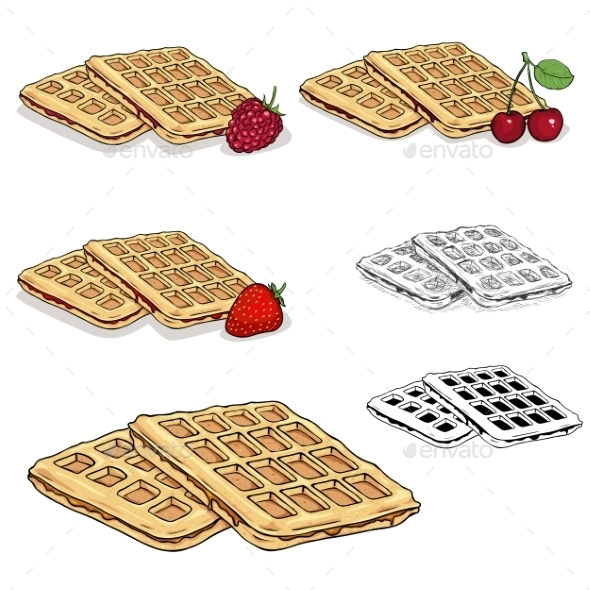 Set Of Vector Viennese Waffles - Food Objects