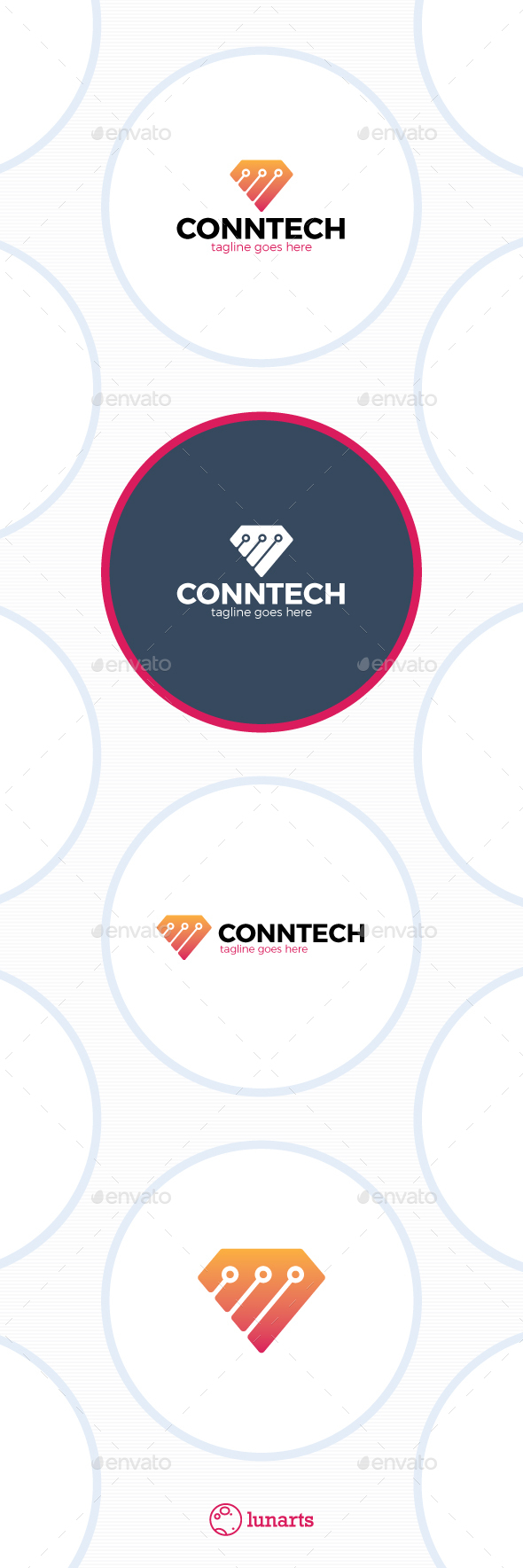 Diamond Tech Logo - Connect Line - Symbols Logo Templates