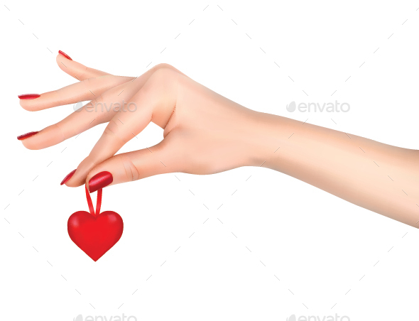 Hand Holding a Red Heart - Valentines Seasons/Holidays