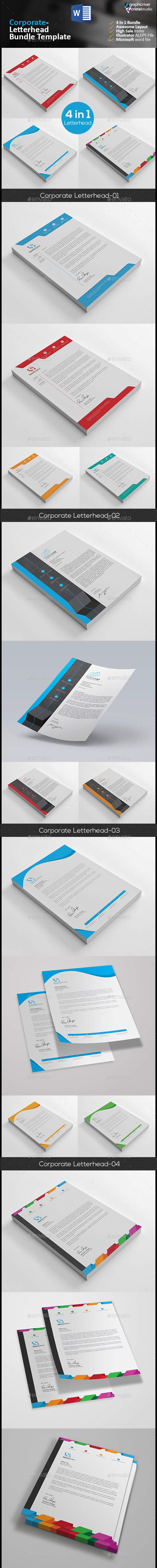 Letterhead Bundle 4 in 1 - Stationery Print Templates