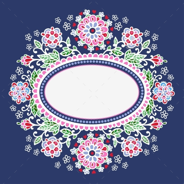 Oval Frame With Flowers. - Flowers & Plants Nature