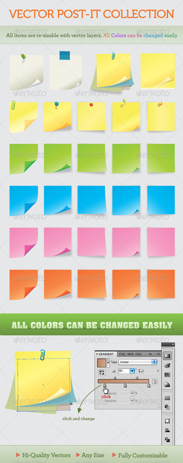 Notes and post-it collection - Backgrounds Decorative