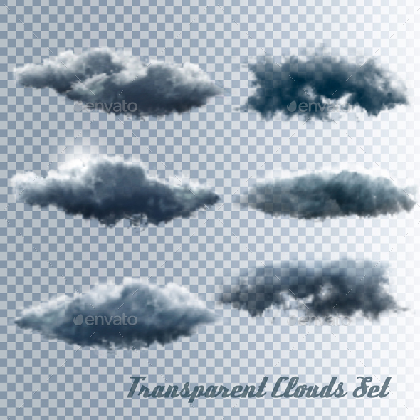 Set of Transparent Clouds Vector - Organic Objects Objects