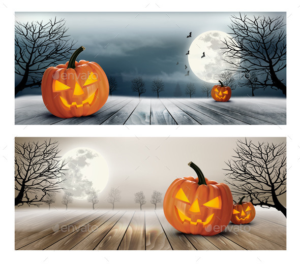 Holiday Halloween Banner with Pumpkins and Moon - Halloween Seasons/Holidays
