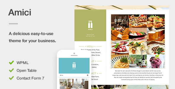 Amici - A Flexible & Responsive Restaurant or Cafe Theme for WordPress