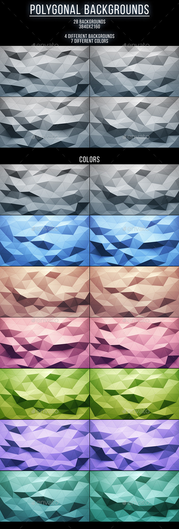 28 Polygonal Backgrounds - Abstract Backgrounds