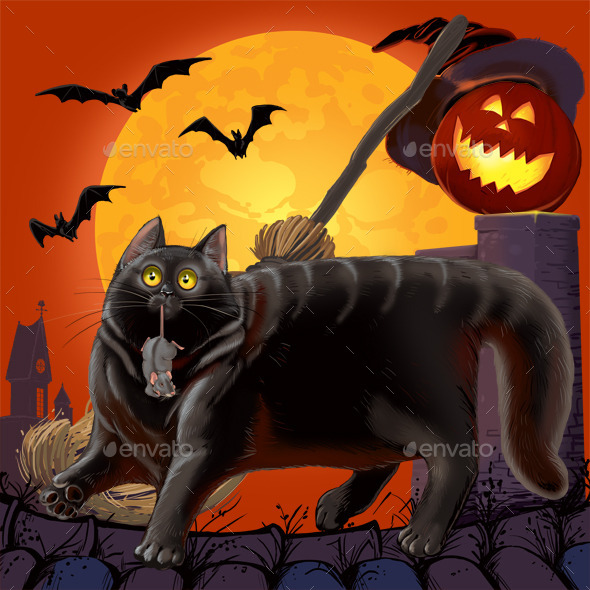 Halloween Scared Cat and  Mouse  - Characters Illustrations
