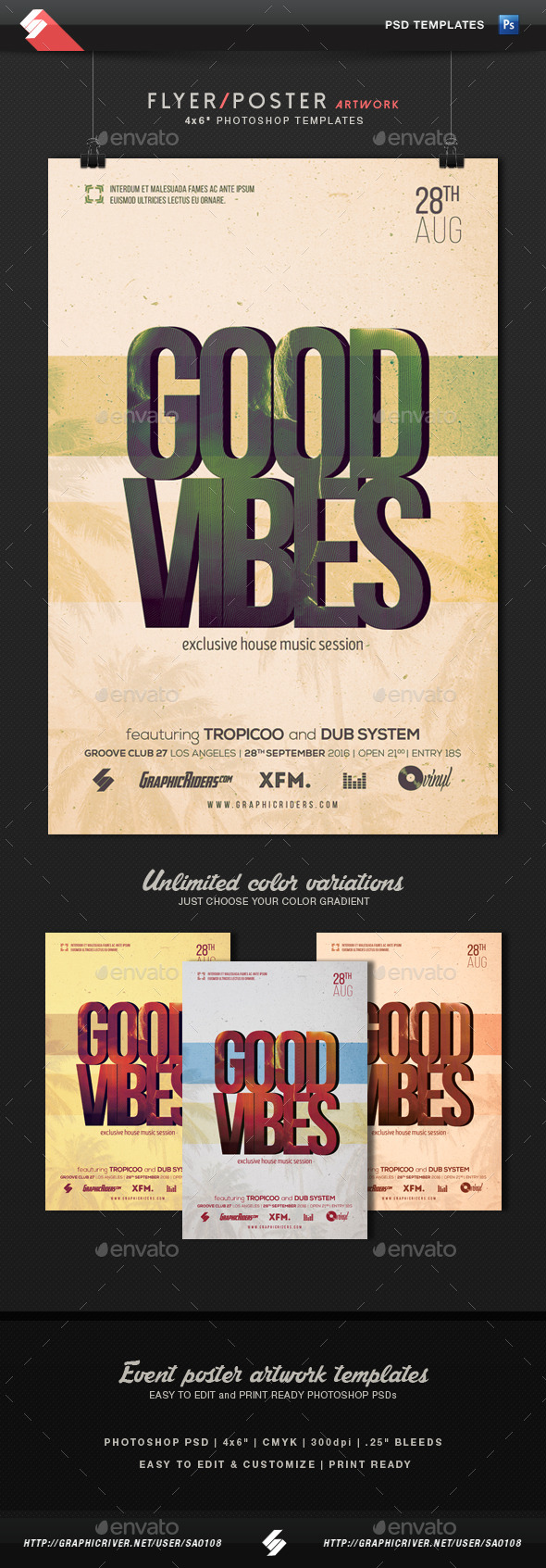 Good Vibes - Party Flyer Template - Clubs & Parties Events
