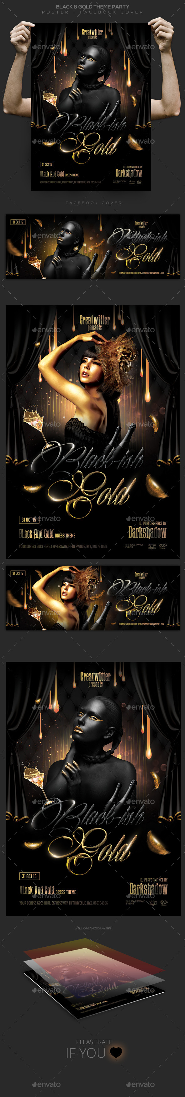 Black & Gold Party Flyer / Poster / Facebook - Clubs & Parties Events
