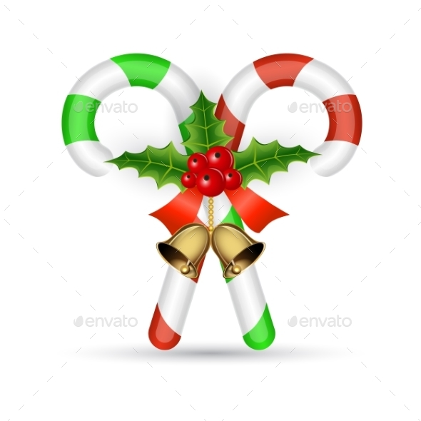 Christmas Candy Cane With Red Bow - Christmas Seasons/Holidays