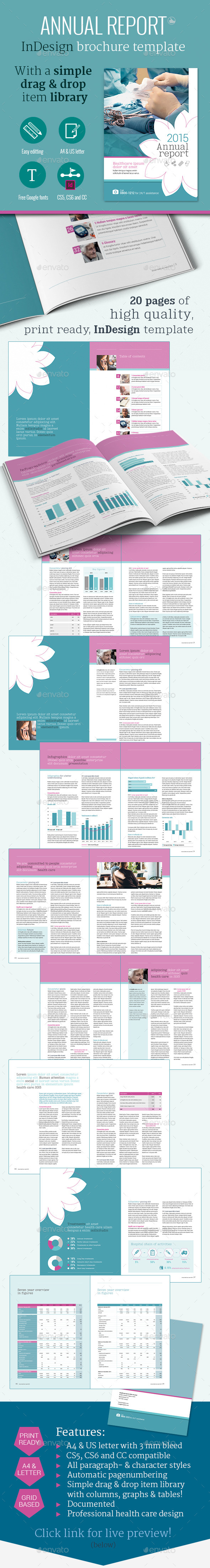 Health care annual report brochure template by for Healthcare brochure templates