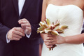 Bride and groom with beautiful flower bouquet on wedding day - PhotoDune Item for Sale