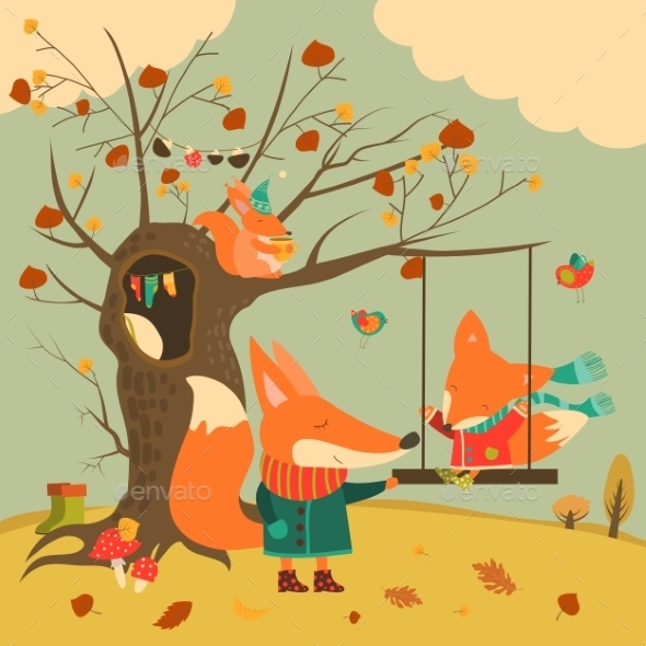 Cute Foxes Ride On a Swing In The Autumn Forest - Animals Characters
