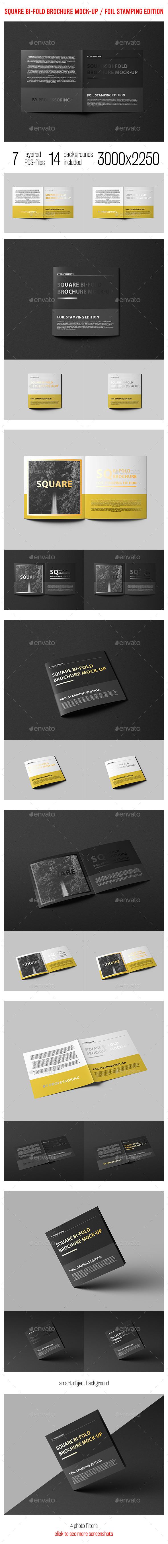 Square Bi-Fold Brochure Mock-up With Foil Stamping - Brochures Print