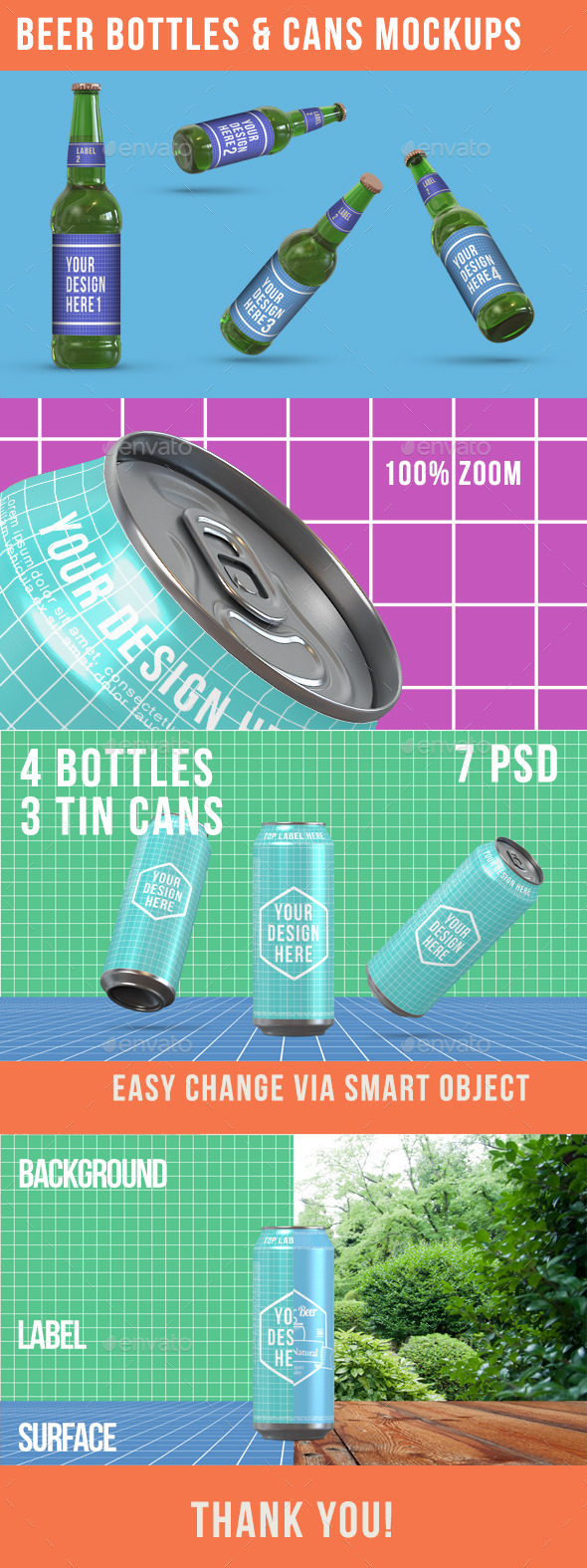 Beer Bottles & Can Product Mockups - Food and Drink Packaging