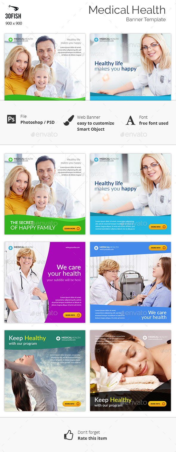 Medical Health Banner Ads - Banners & Ads Web Elements