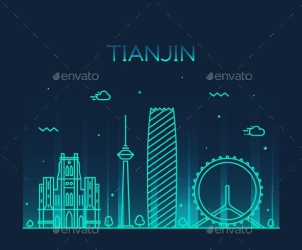 Tianjin Skyline Vector Illustration Line Art - Buildings Objects