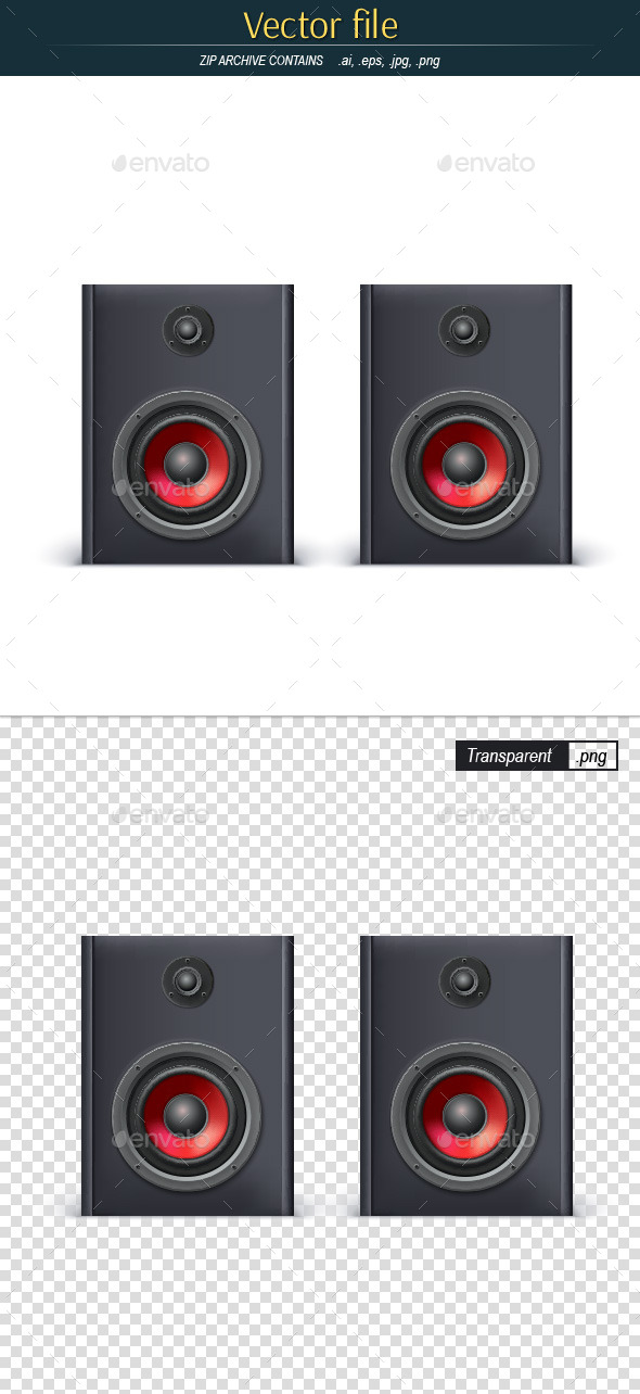 Speakers Front View Editable Vector - Objects Vectors