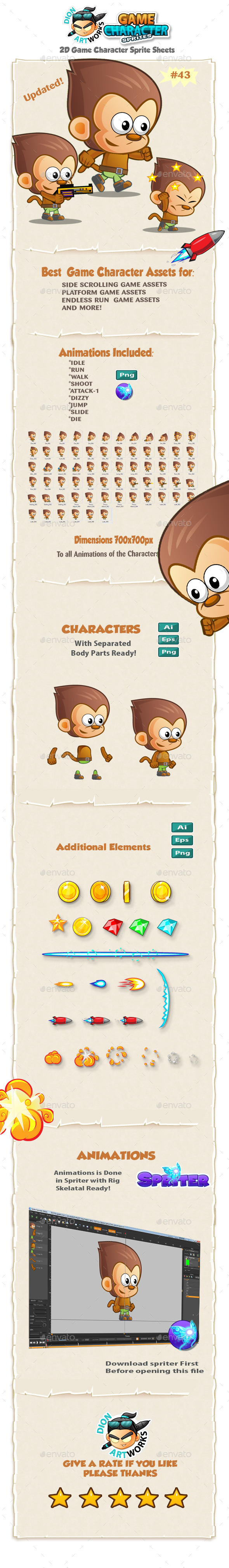 Monkey 2D Game Character Sprites 43 - Sprites Game Assets