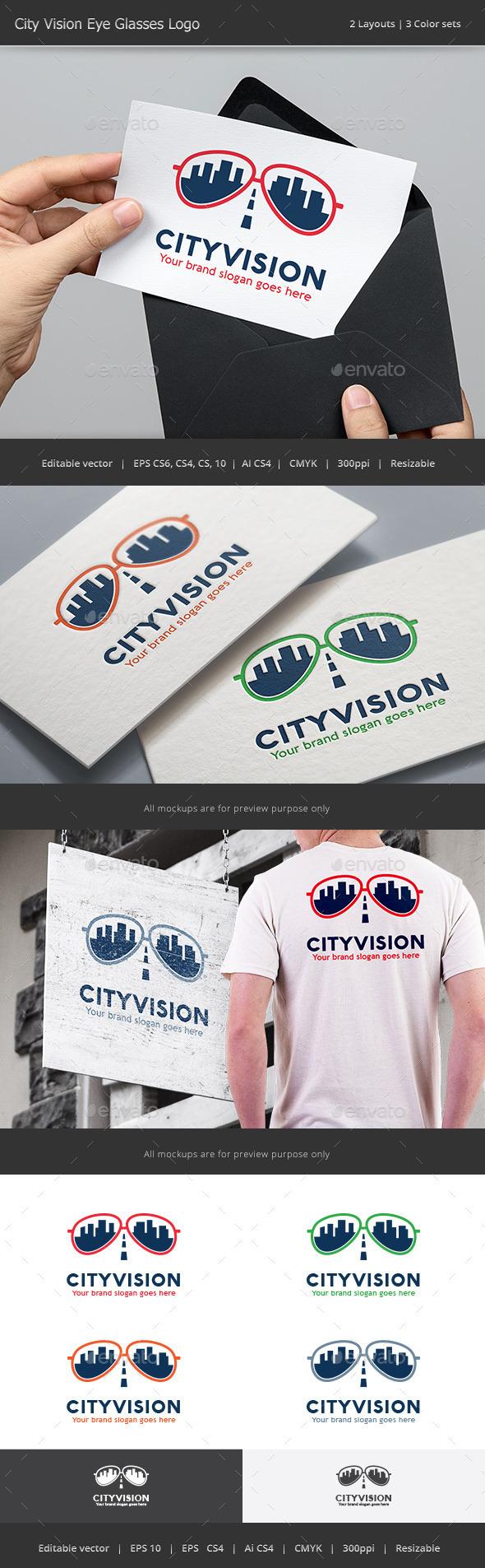 City Vision Eye Glasses Logo - Objects Logo Templates