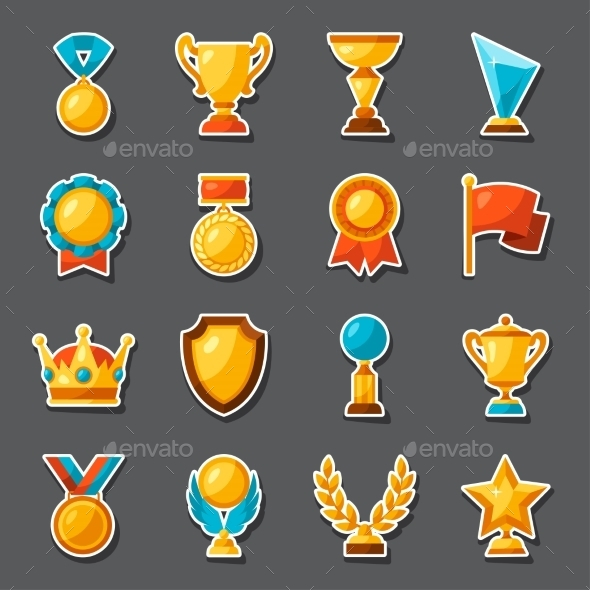 Sport Or Business Award Sticker Icons Set - Sports/Activity Conceptual