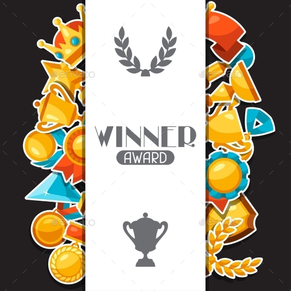 Sport Or Business Award Sticker Icons Background - Sports/Activity Conceptual