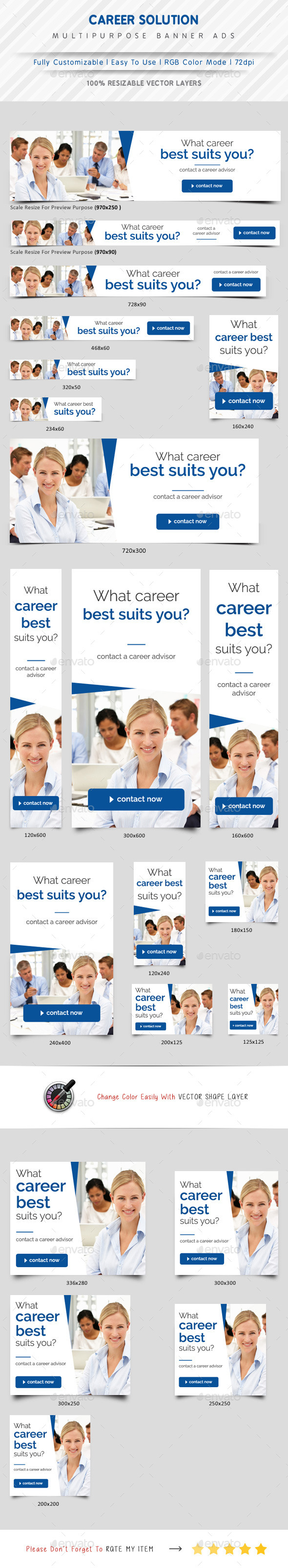 Career Solution Web Banner Ads - Banners & Ads Web Elements