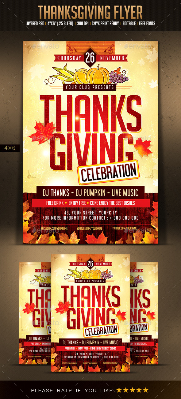 Thanksgiving Flyer - Holidays Events