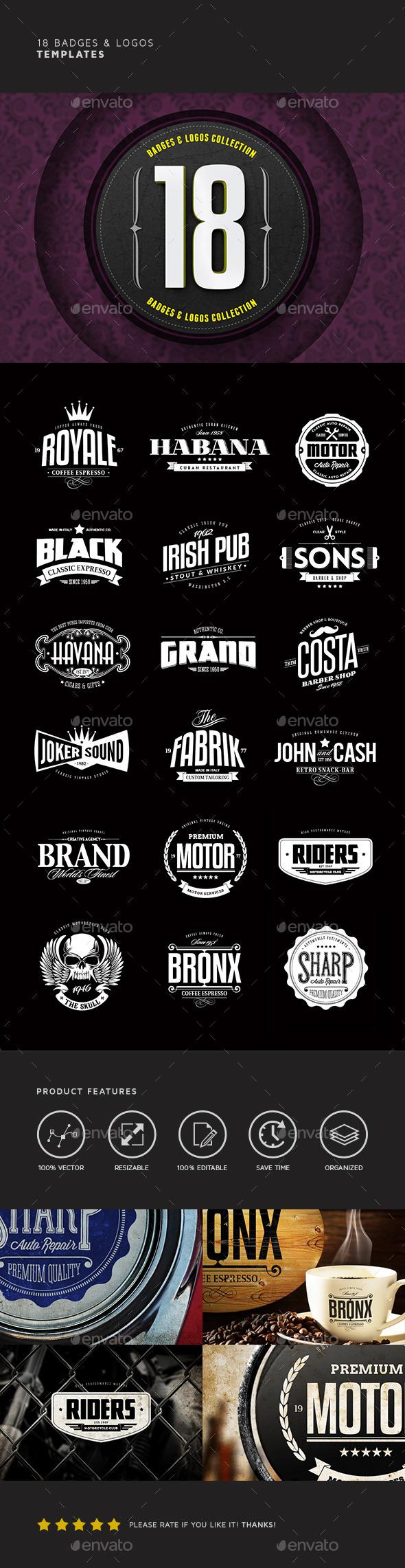 18 Badges & Logos Bundle - Badges & Stickers Web Elements