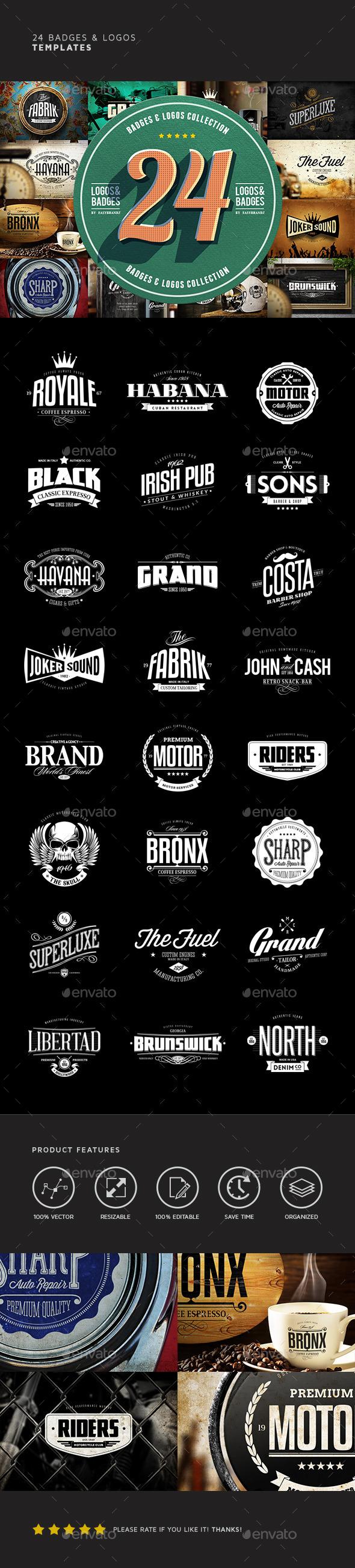 24 Badges & Logos Bundle - Badges & Stickers Web Elements