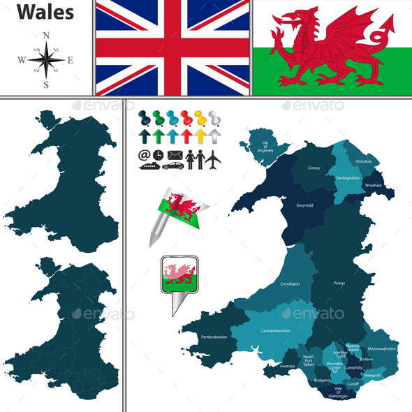 Map of Wales with Principal Areas - Travel Conceptual