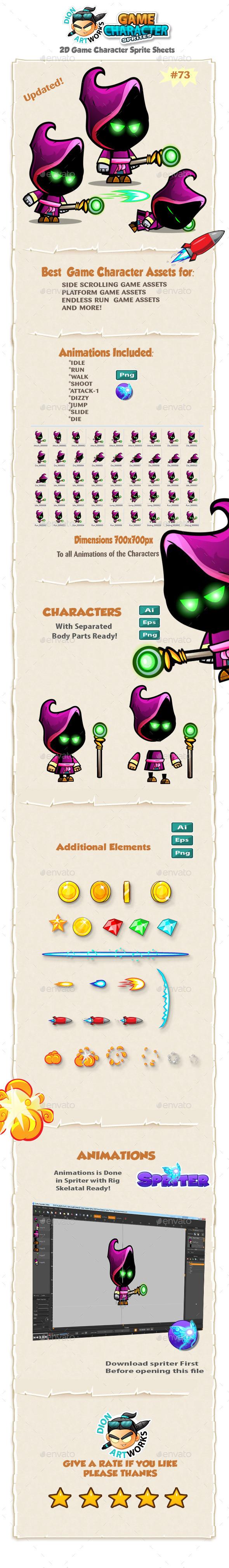 Evil Mage 2D Game Character Sprites 73 - Sprites Game Assets