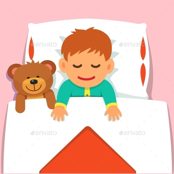 Baby Boy Sleeping With His Plush Teddy Bear Toy - People Characters