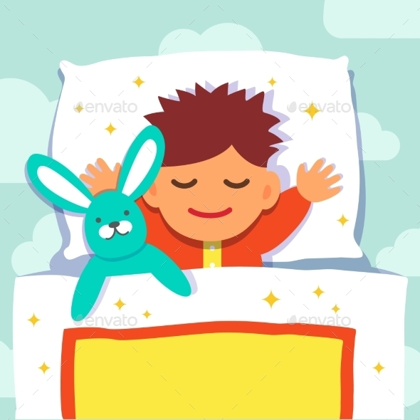 Baby Boy Sleeping With His Rabbit Toy - People Characters