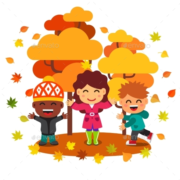 Mixed Race Kids Having Fun And Playing With Leaves - Seasons Nature
