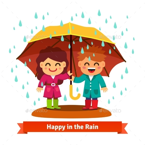 Boy And Girl Standing In The Rain Under Umbrella - Abstract Conceptual
