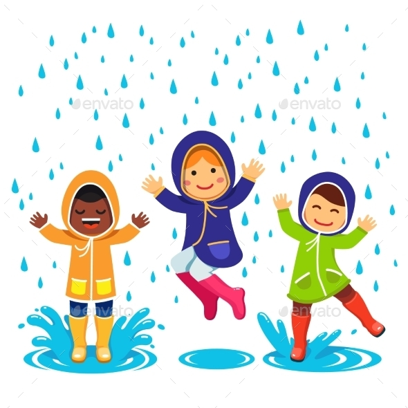 Kids In Raincoats And Rubber Boots Playing - Seasons Nature