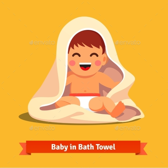 Happy Baby Boy Toddler Wrapped In Bath Towel - People Characters